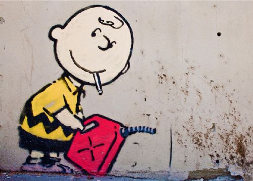 BANKSY - CHARLIE BROWN - Firestarter canvas print - self adhesive poster - photo print
